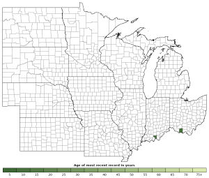 Distribution map of Green Salamander (Aneides aeneus)