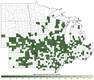 Distribution map of Bullfrog (Lithobates catesbeianus)