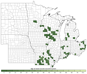 Distribution map of Pickerel Frog (Lithobates palustris)