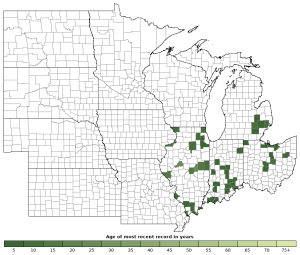 Distribution map of Western Chorus Frog (Pseudacris triseriata)